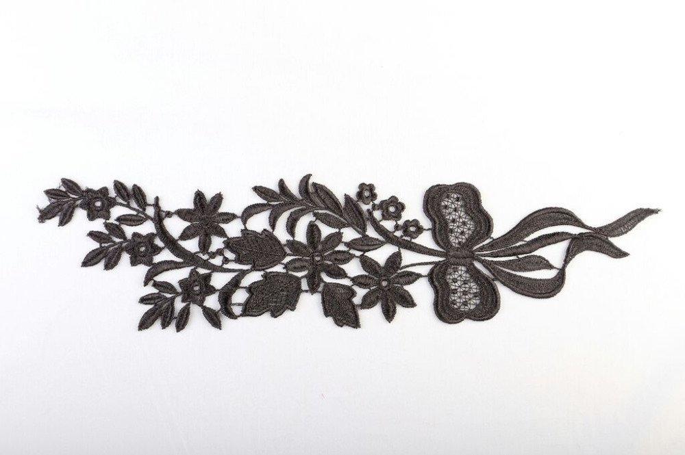 1 applique dentelle guipure de venise 31 cm X 8 cm noir