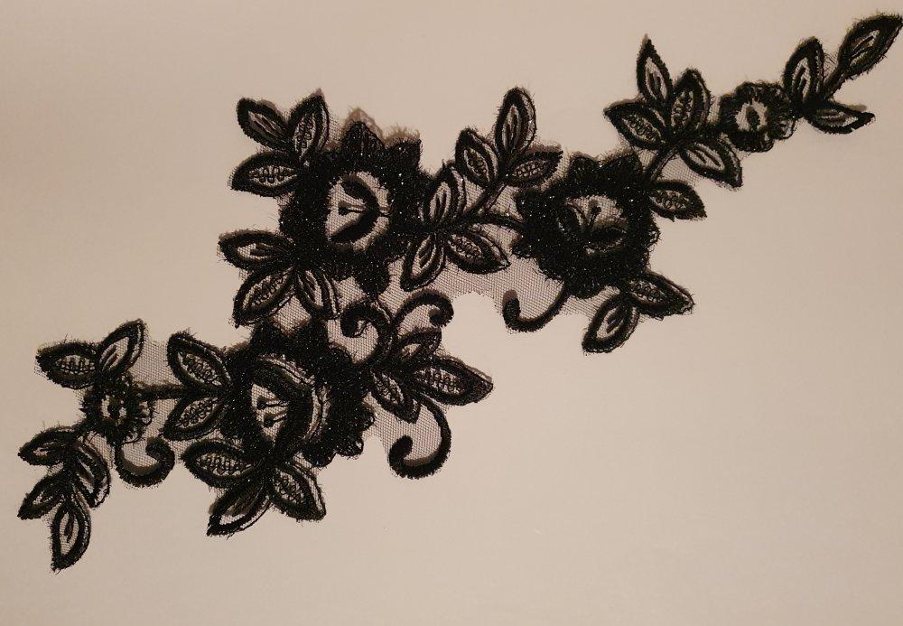 1  applique superbes organza guipure 32 cm X 14 cm noir