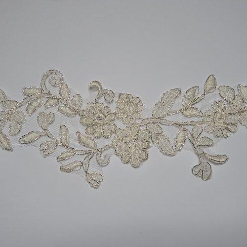 1 applique superbe organza guipure 24 cm x 10 cm ivoire fil doré