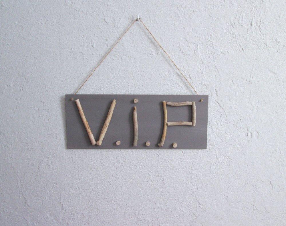 """Bois Flotté Porte Photo plaque de porte bois à suspendre, inscription bois flotté """"v.i.p."""""""