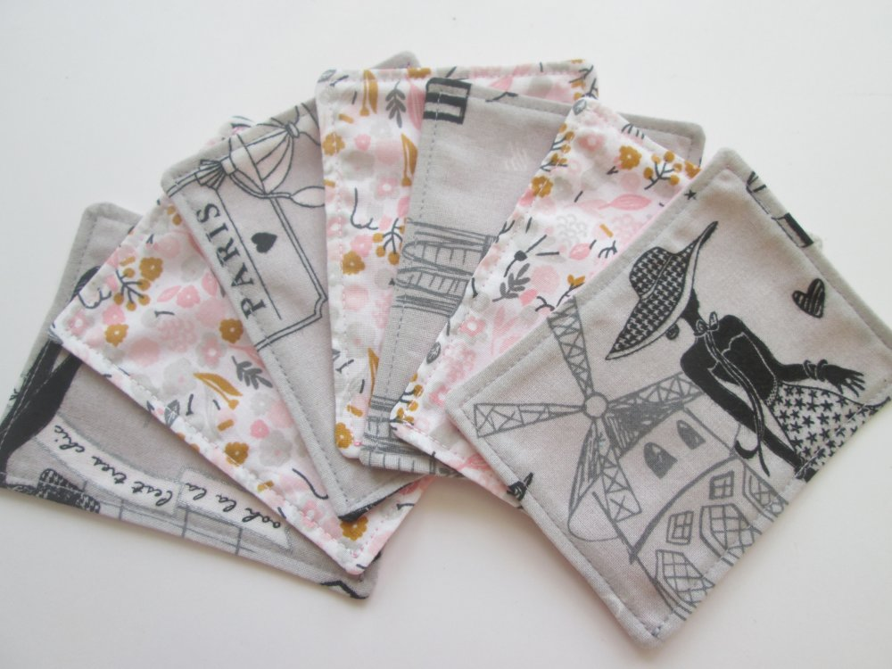 Lingettes lavables démaquillantes coloris gris et rose - VENDU A L'UNITE