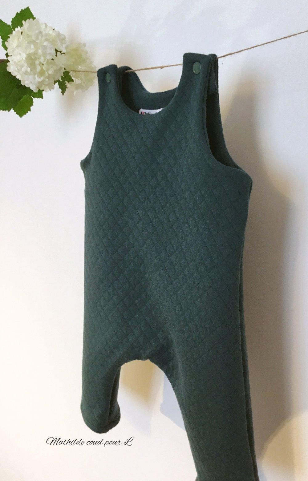 Barboteuse longue en jersey de coton matelassé vert