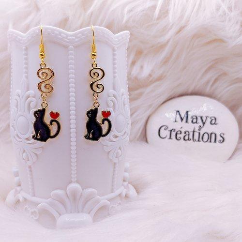 Boucles d'oreilles chat noir et doré