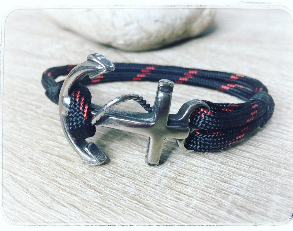 Bracelet paracord 550 tendance / ANCRE NOIR