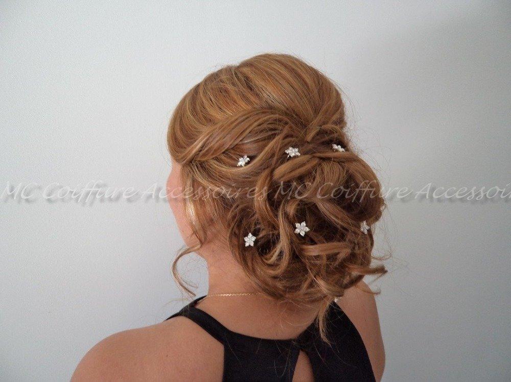 Épingle à Cheveux Fleurs Métal Strass HAARKLAMMERN gris bleu 7541b