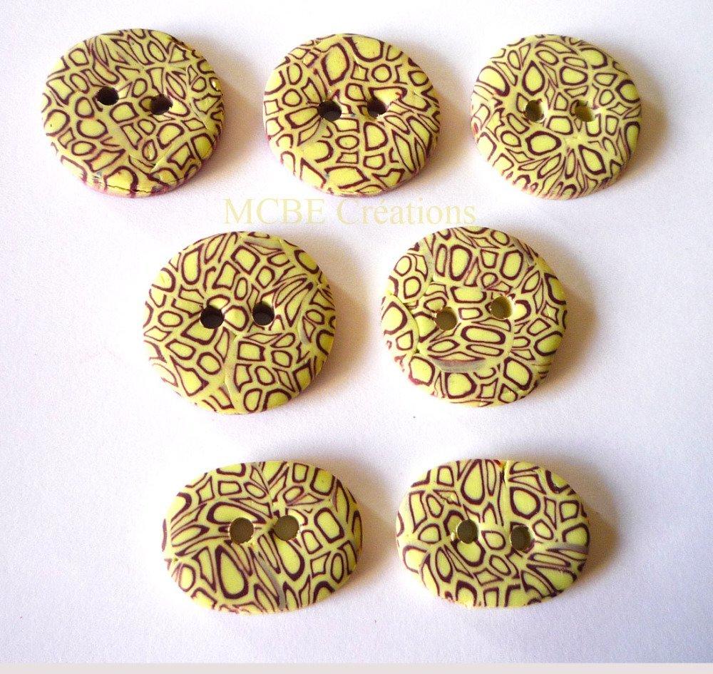 Lot de 7 boutons originaux de créateur, violet et paille