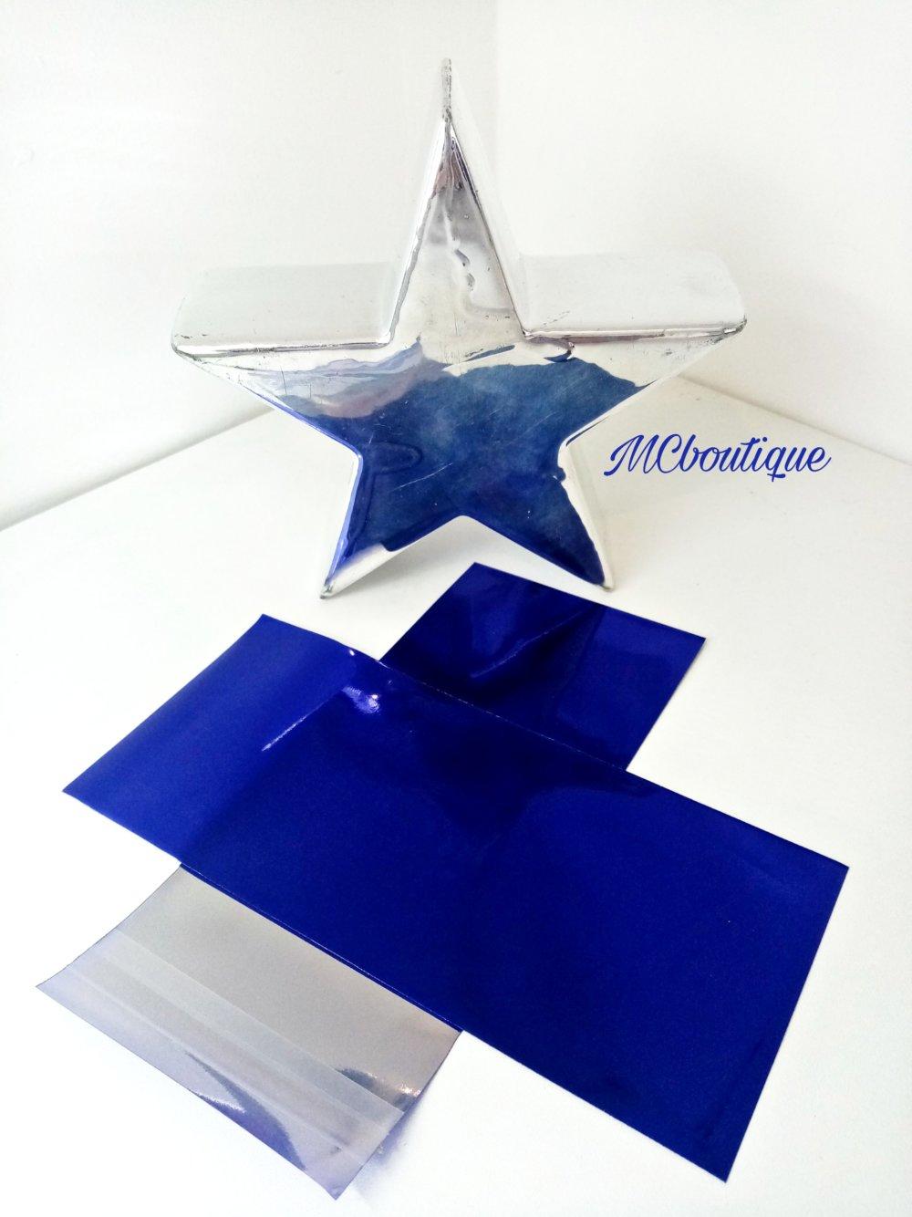 10 emballages, pochette cadeau avec fermeture autocollante, effet métallisé, 13x7cm, bleu électrique
