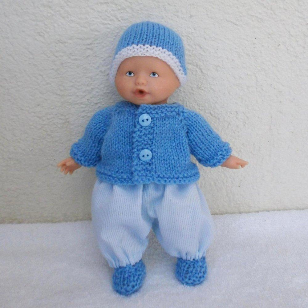 """Habits poupon 20 cm : lot d'habits """"Les Basiques"""" pour mini Calin et mini Bain (bleu)"""
