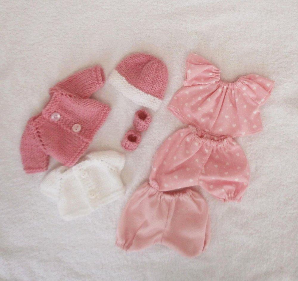 """Habits poupon 20 cm : lot d'habits """"Les Basiques"""" pour mini Calin et mini Bain (rose)"""