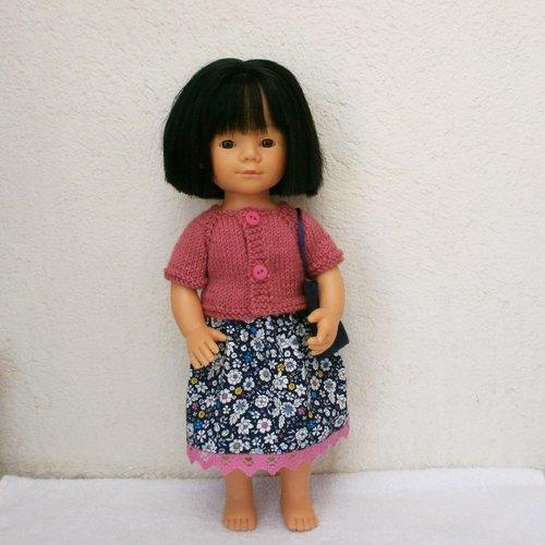 Habits poupée marieta (35 cm) : jupe fleurie et gilet