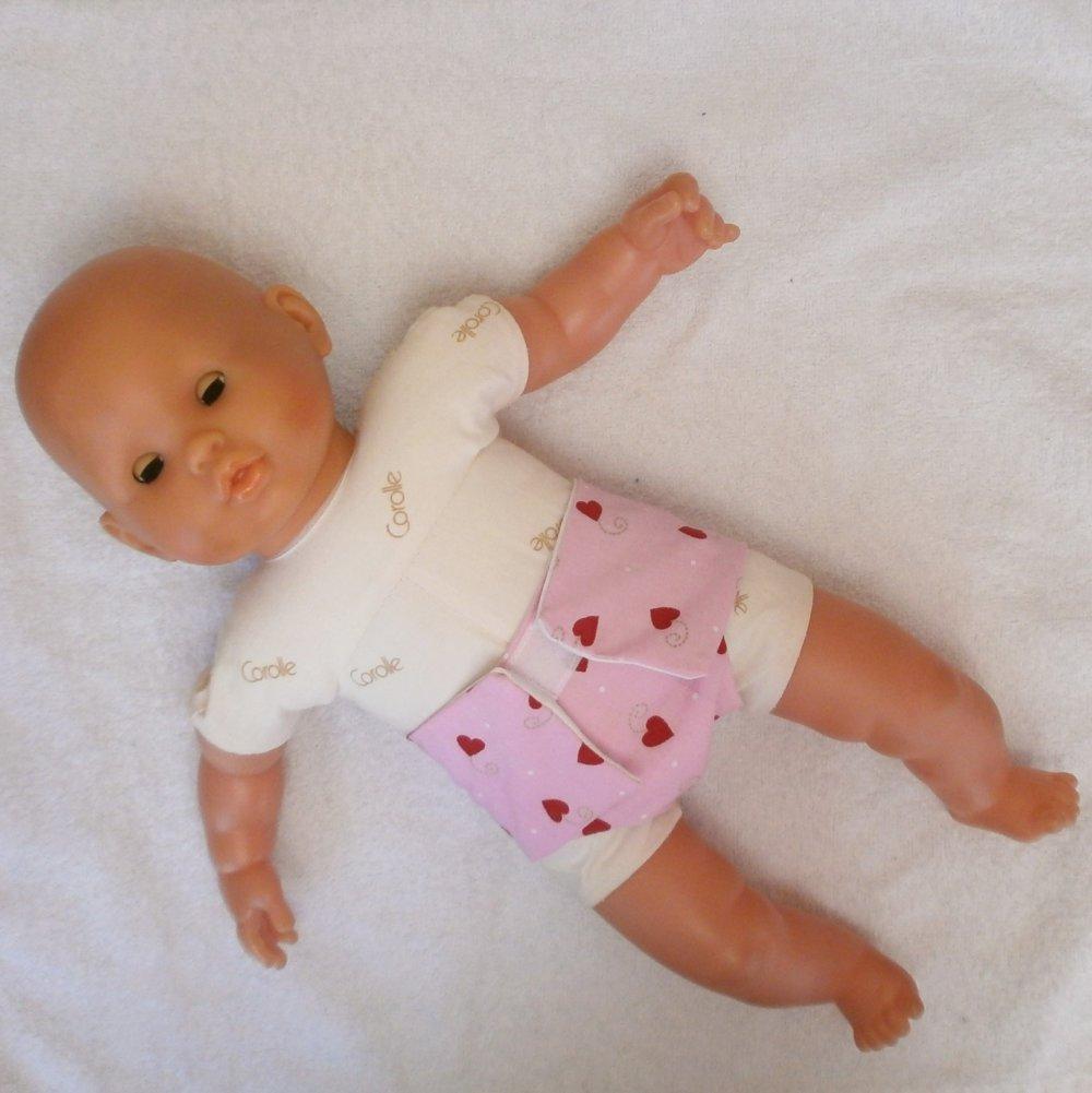 Habits poupon 36 cm : Lot de 2 couches roses en coton pour poupon de 36 cm