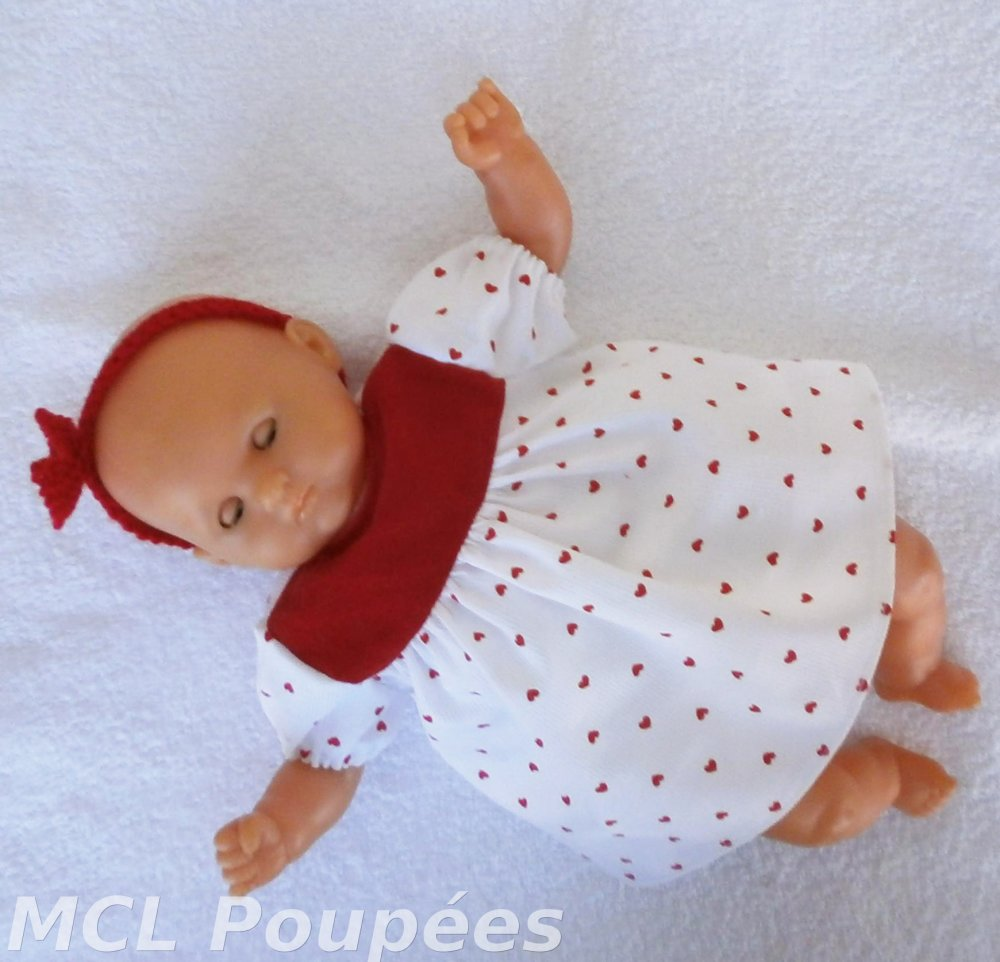 Habits poupon 30 cm - Robe petits coeurs rouges et bandeau