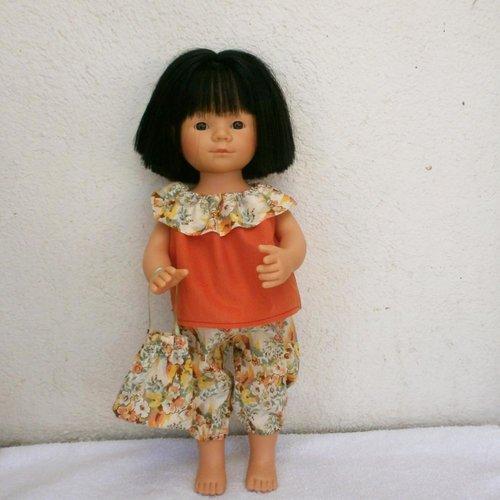 Habits poupée marieta : tenue liberty jaune et orangée pour marieta