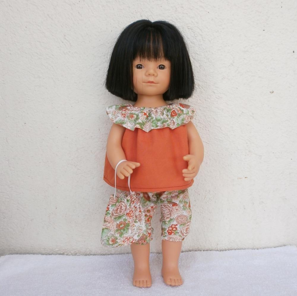 Habits poupée Marieta : Tenue Liberty orange et vert pour Marieta