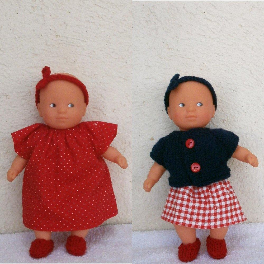 Vêtements mini poupon : lot d'habits bleu marine et rouge