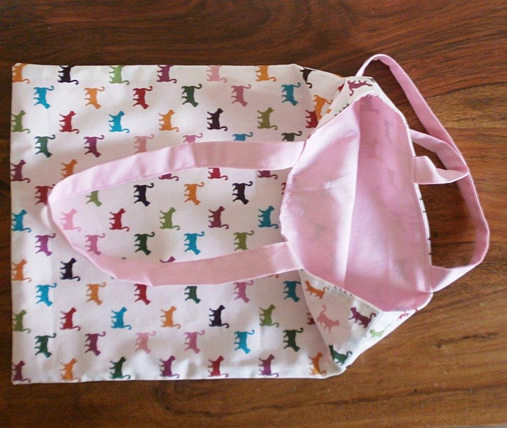 Tote bag réversible motif chats / rose