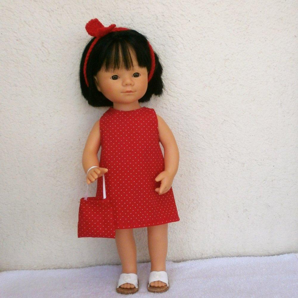 Habits poupée Marieta (35 cm) : robe rouge à pois blancs