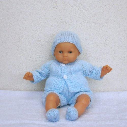 Habits poupon 30 cm - ensemble bleu clair au tricot