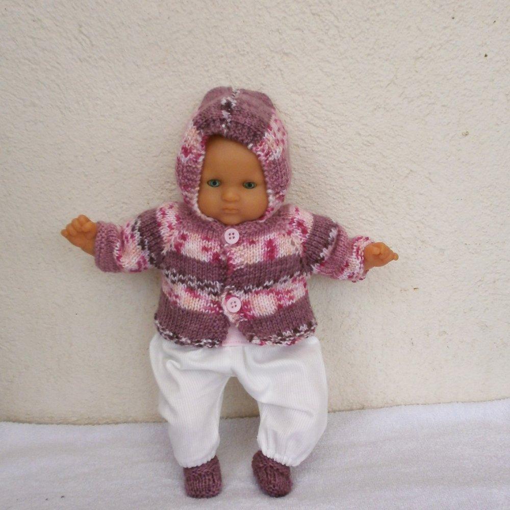 Vêtements pour poupon 30 cm - tenue d'hiver rose chiné