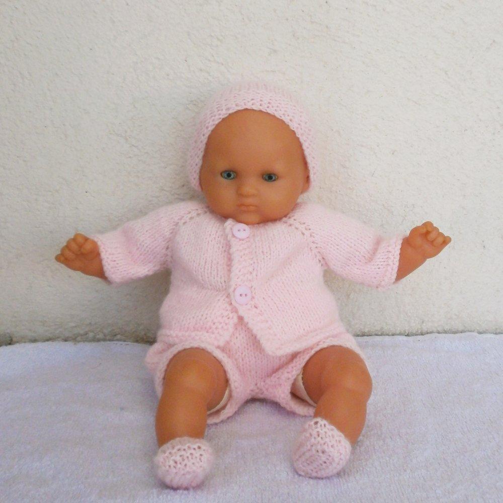 Habits poupon 30 cm - ensemble rose pastel au tricot