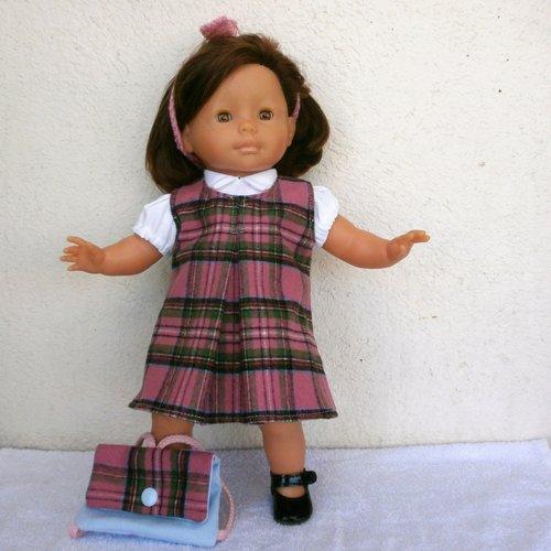Habits ma poupée corolle (36 cm) : tenue d'écolière écossais rose