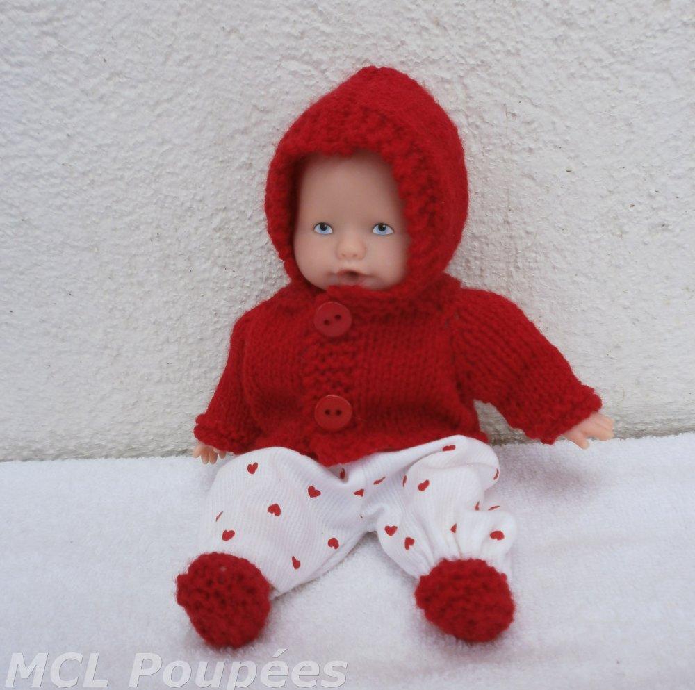 Habits poupon 20 cm : ensemble d'hiver rouge