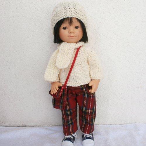 Habits poupée marieta (35 cm) : tenue d'hiver pantalon écossais