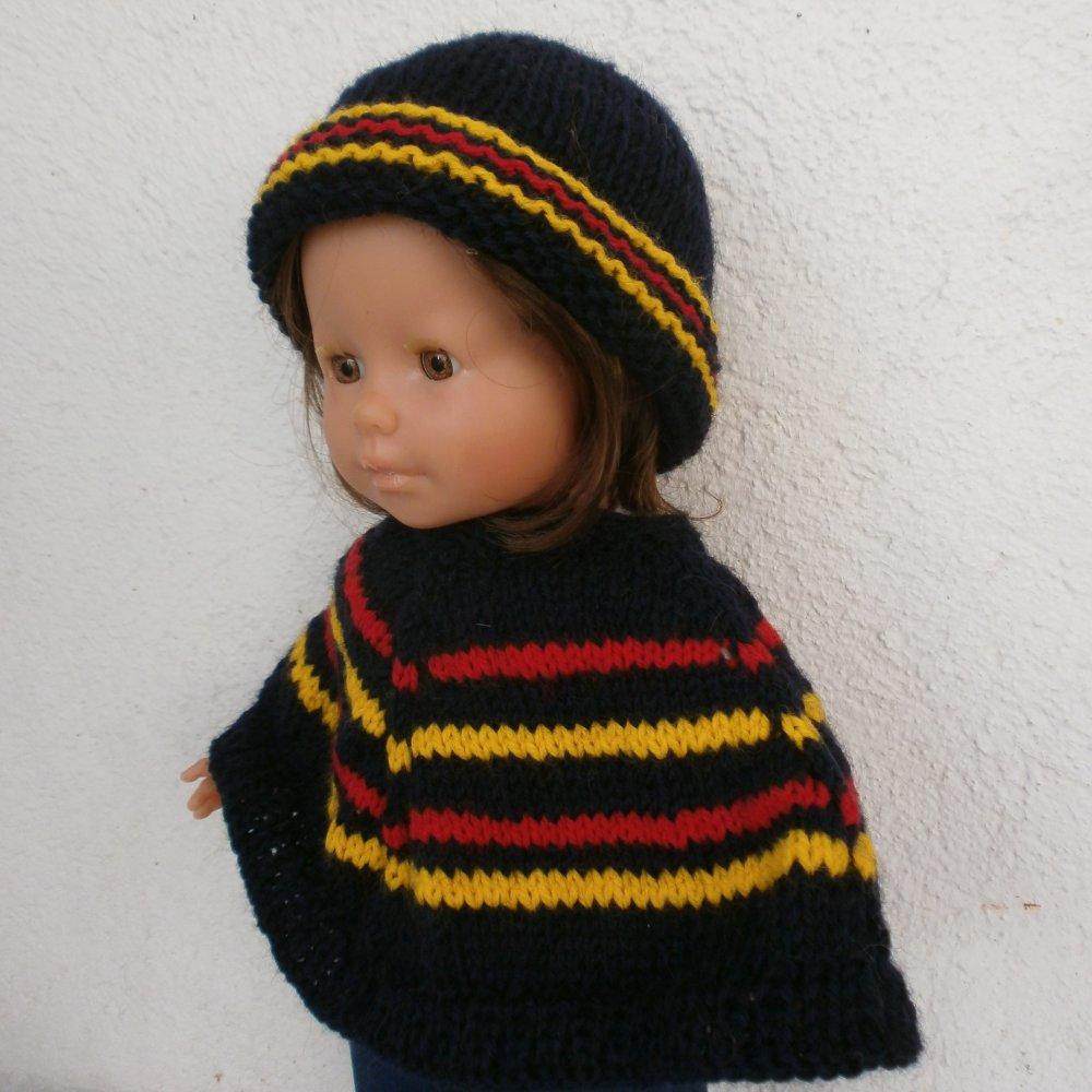 Vêtements pour Ma Corolle, habits pour poupée 36 cm - Poncho et bonnet