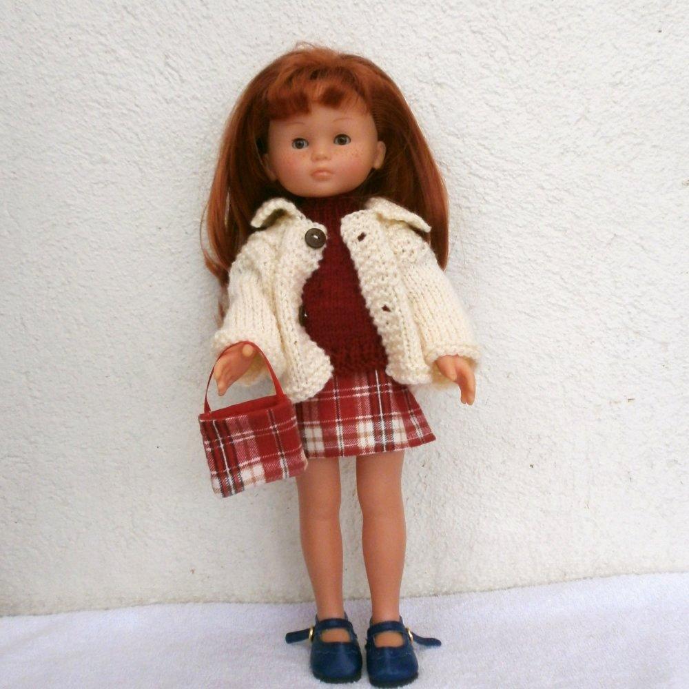 Vêtements poupée 32 cm / 33 cm : ensemble jupe écossaise