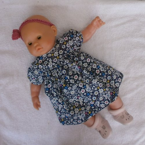 Habits poupon 36 cm -  robe bleu marine à fleurs