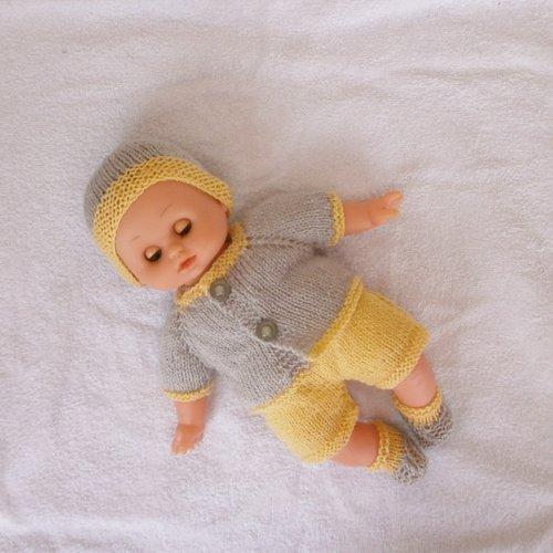 Vêtements pour petit câlin 28 cm - ensemble jaune et gris