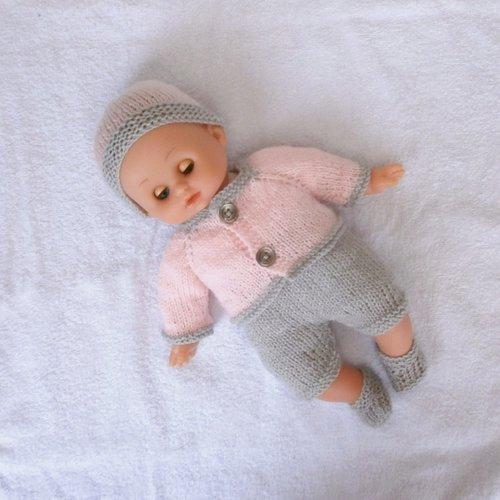 Vêtements pour petit câlin 28 cm - ensemble rose pastel et gris