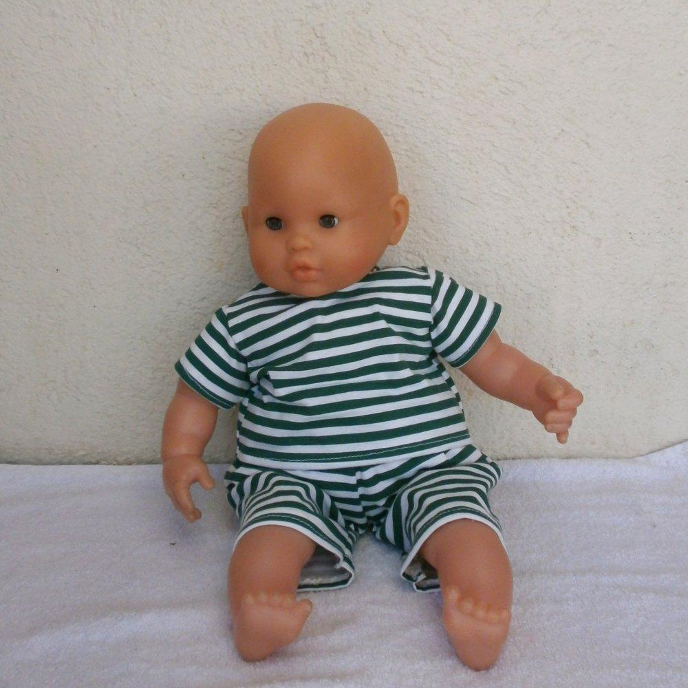 Habits poupon 36 cm (corps souple) - Tenue rayée vert et blanc