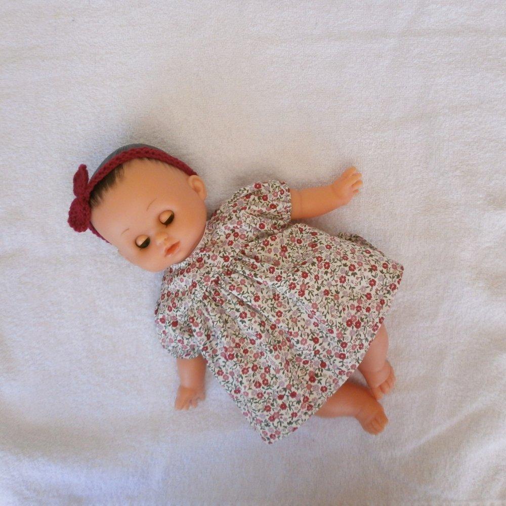 Vêtements pour poupon Petitcollin - Robe fleurie tons roses