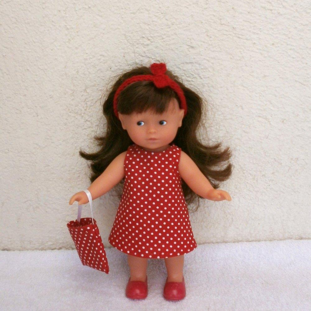 Vêtements pour mini Corolline : lot d'habits fleurs/pois (rouge)