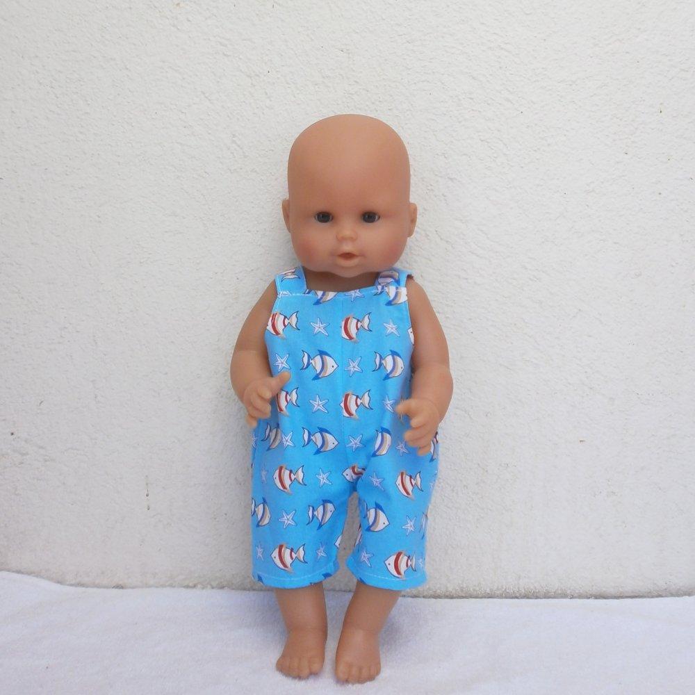 Vêtements poupon 36 cm (corps vinyle) - Salopette courte motif poissons