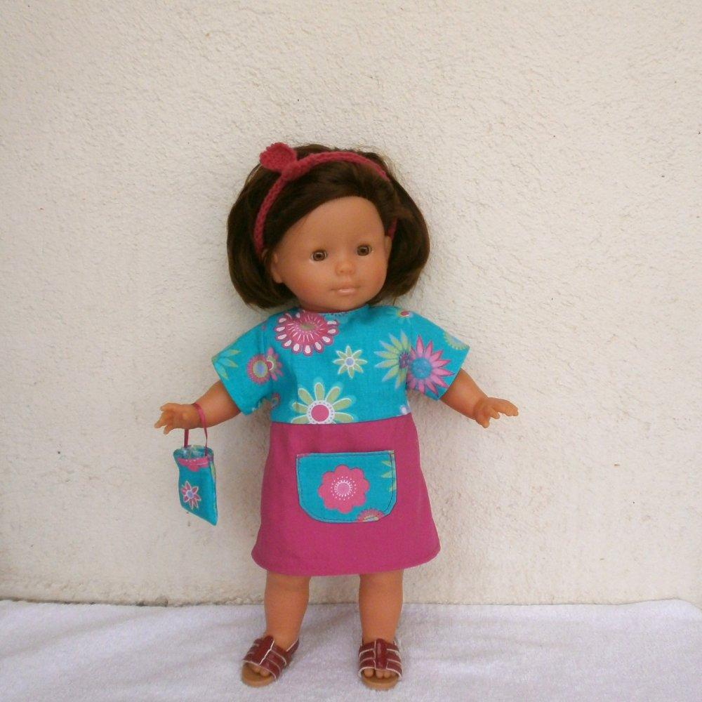 Habits poupée 36 cm : robe turquoise et rose fuchsia pour Ma Corolle