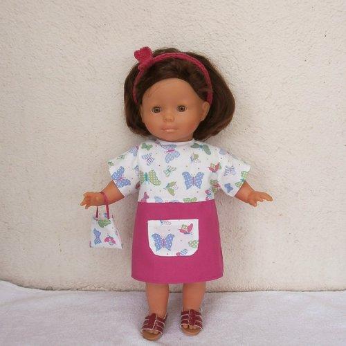 """Habits poupée 36 cm : robe rose fuchsia """"papillons"""" pour ma corolle"""