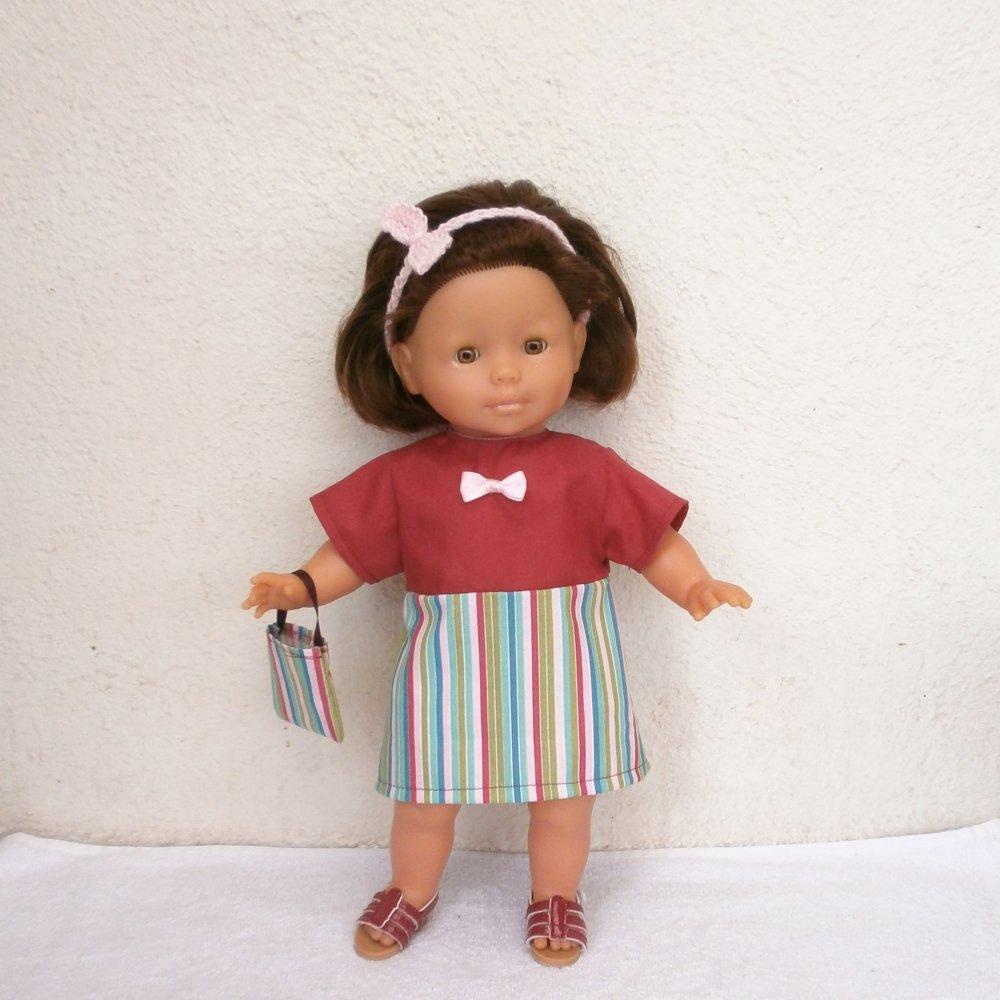 Habits poupée 36 cm : robe framboise et rayures pour Ma Corolle