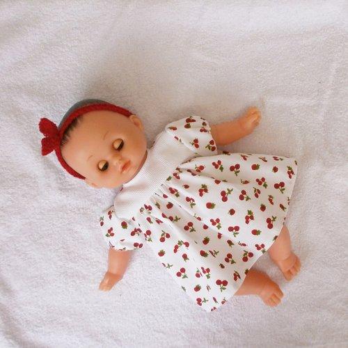 Vêtements pour poupon petitcollin - robe petits fruits rouges