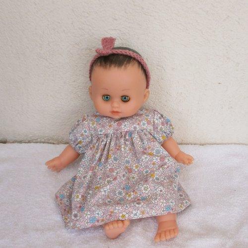 Vêtements pour poupon petitcollin - robe rose fleurie
