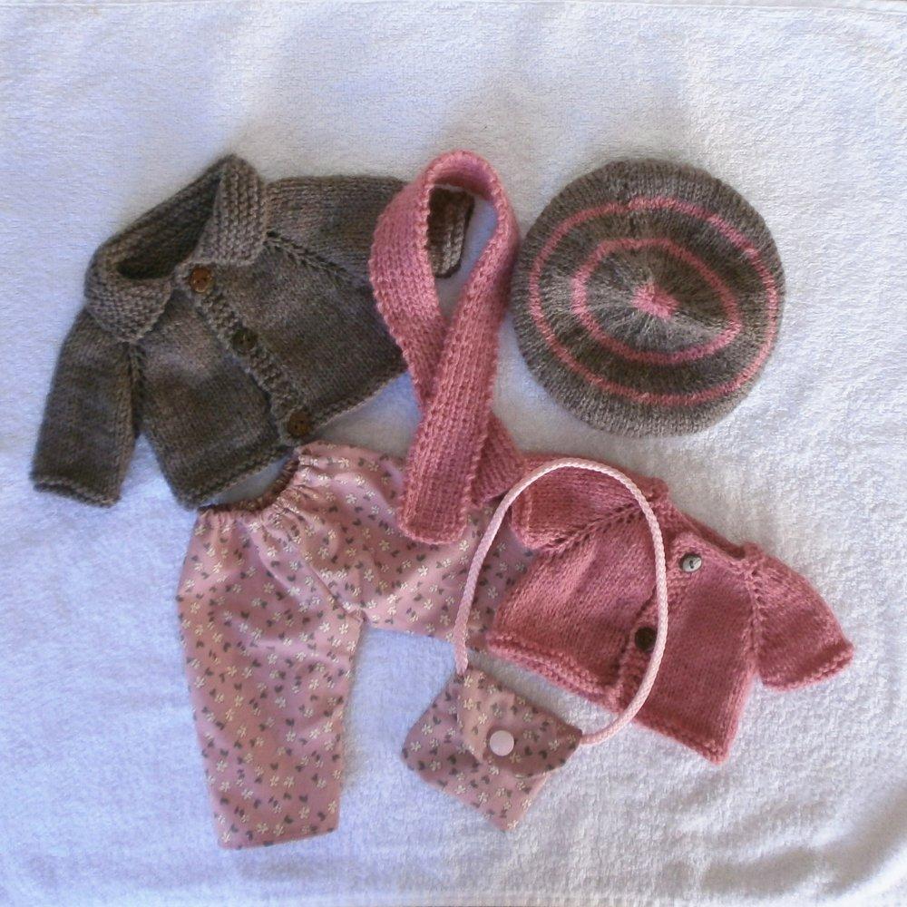 Habits poupée 36 cm - tenue d'hiver tons rose/marron glacé