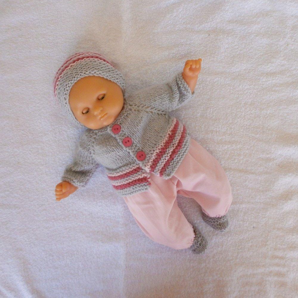Habits poupon 30 cm - ensemble rose et gris pour Bébé Calin