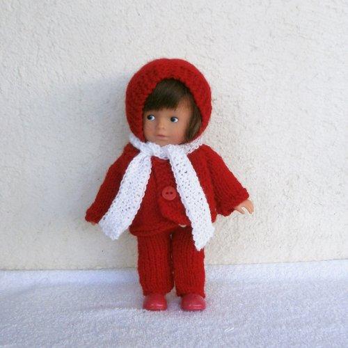 Vêtements pour mini corolline : ensemble d'hiver rouge et blanc