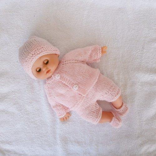 Vêtements pour poupon petitcollin - ensemble layette rose