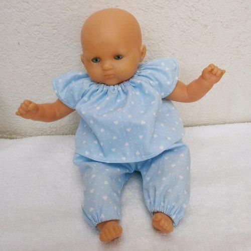 Habits poupon 30 cm : pyjama bleu coeurs