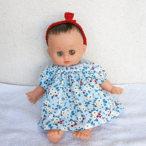Vêtements pour poupon petitcollin - robe bleue à fleurs rouges