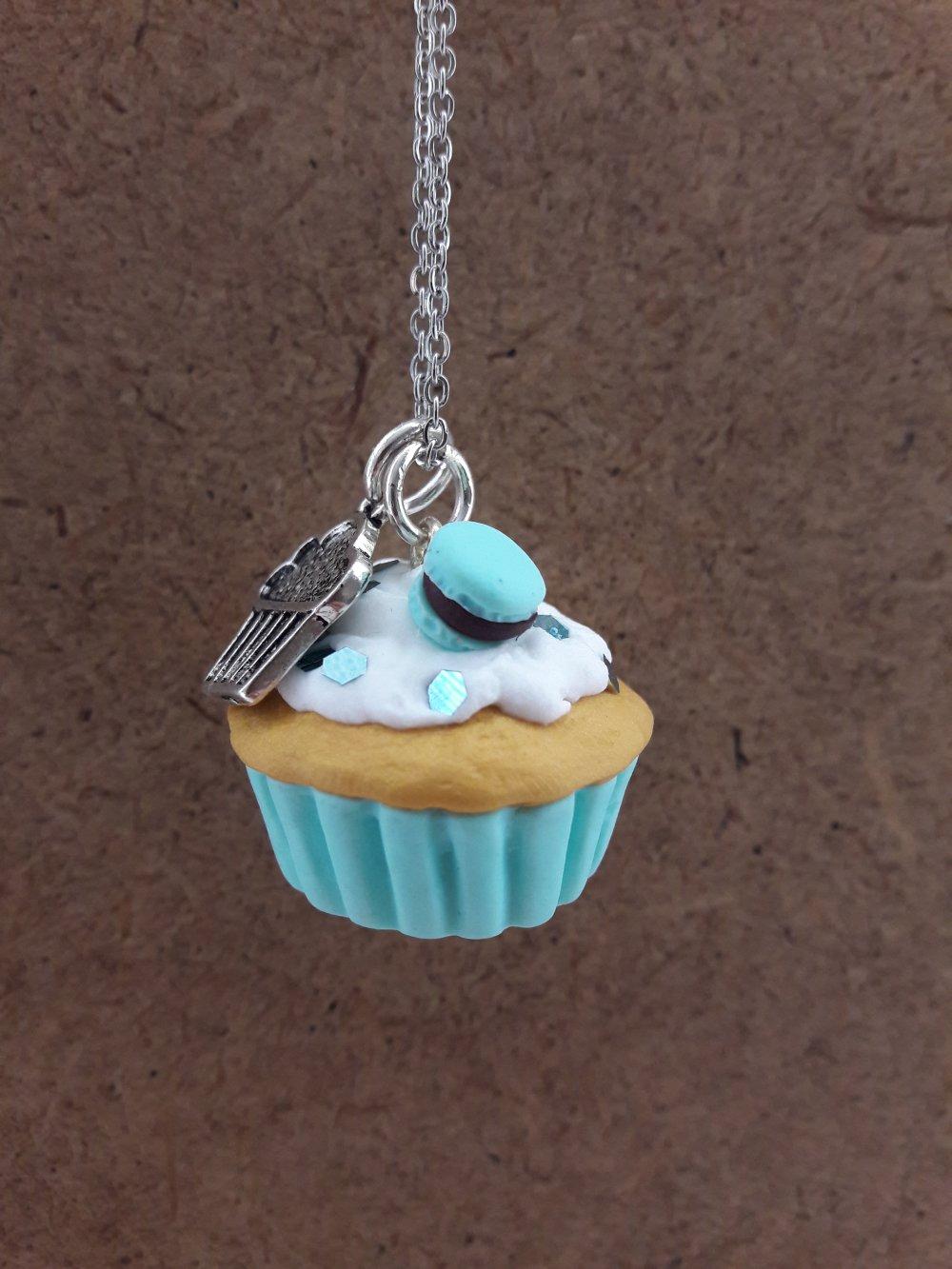 Sautoir Cupcake bleu clair
