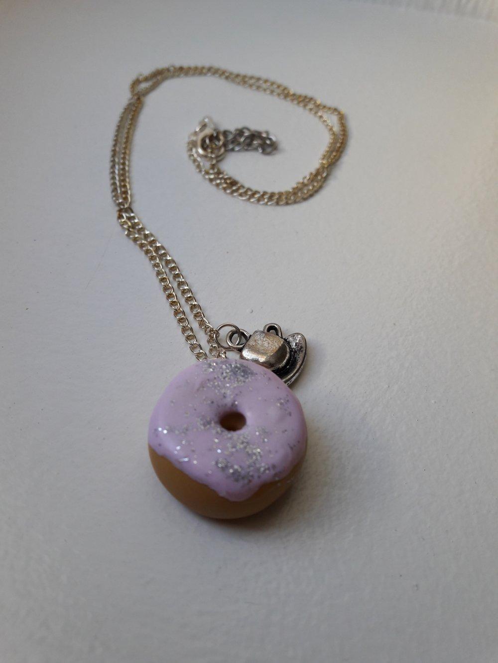 Sautoir donut rose