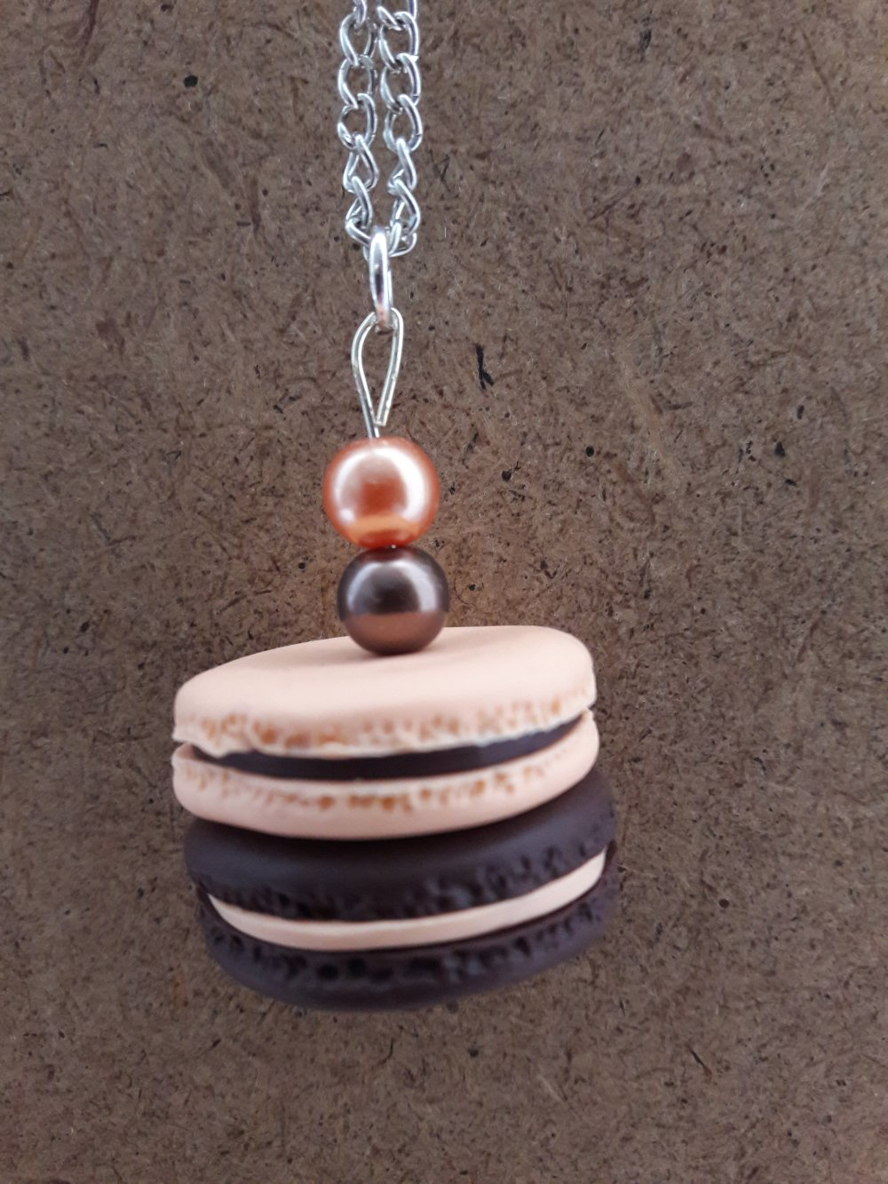 Sautoir Macaron orange et chocolat